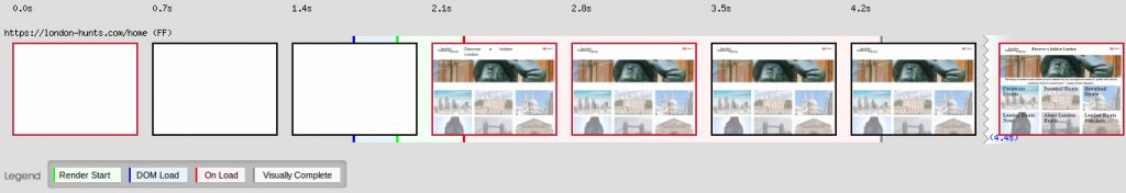 London-hunts web performance filmstrip